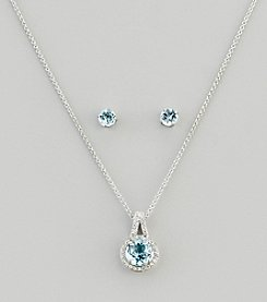 Designs by FMC Sterling Silver Plated Genuine Stone Blue Topaz Pendant Necklace and Earrings Boxed Set