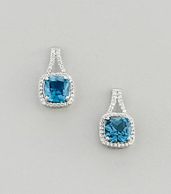 Designs by FMC Sterling Silver Plated Blue Spinel and Cubic Zirconia Boxed Earrings