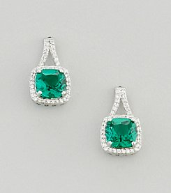 Designs by FMC Sterling Silver Plated Lab Created Green Quartz and Cubic Zirconia Boxed Earrings