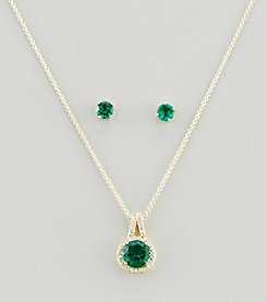 Designs by FMC 18K Gold Plated Over Brass, Created Green Quartz & Cubic Zirconia Boxed Earrings & Pendant Necklace Set