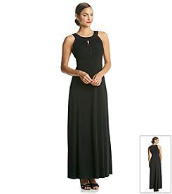 Sangria® Long Halter Dress with A Ruched Waist