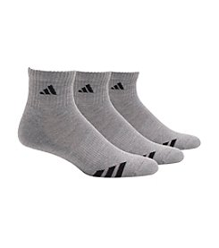 adidas® Men's 3-Pack Gray/Black Climalite Cushion Stripe Quarter Socks