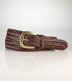 Polo Ralph Lauren® Men's Cognac 'Derby' Braided Leather Belt