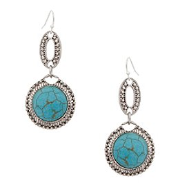 Erica Lyons® Turquoise Sand and Water Earrings