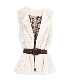 Beautees Girls' 7-16 Belted Fur Vest