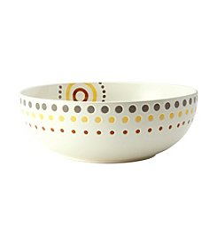 Rachael Ray® Circle and Dots Stoneware White Serving Bowl