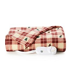 LivingQuarters Buffalo Plaid Heated Micro Plush Throw