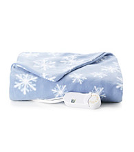 LivingQuarters Snowflake Heated Micro Plush Throw