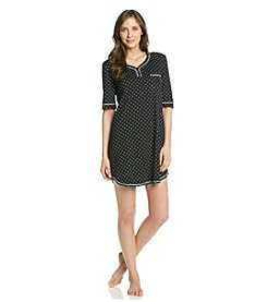 KN Karen Neuburger Knit Henley Sleepshirt - Black Dot