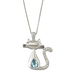 Designs by FMC Sterling Silver Plated Boxed Cat Pendant with Genuine Blue Topaz and Diamond Accent