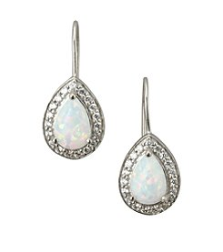 Designs by FMC Sterling Silver Plated Lab Created Opal and Cubic Zirconia Boxed Earrings