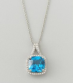 Designs by FMC Sterling Silver Plated Lab Created Blue Sapphire and Cubic Zirconia Boxed Pendant