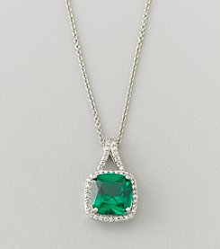 Designs by FMC Sterling Silver Plated Lab Created Green Quartz and Cubic Zirconia Boxed Pendant