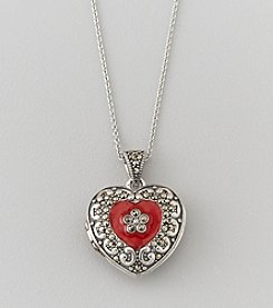 Designs by FMC Sterling Silver Plated Marcasite and Red Enamel Boxed Locket Pendant