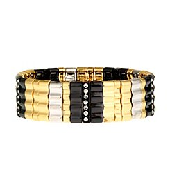 Nine West® Tri-Tone Wide Stretch Bracelet With Crystal Accents