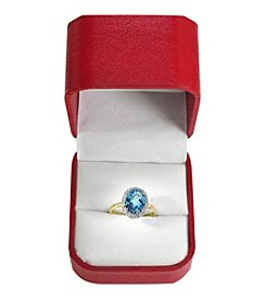 Effy® Oval Blue Topaz & .11 ct. t.w. Diamond Ring in 14K Yellow Gold