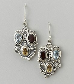 Garnet, Blue Topaz, & Citrine Earrings in Sterling Silver
