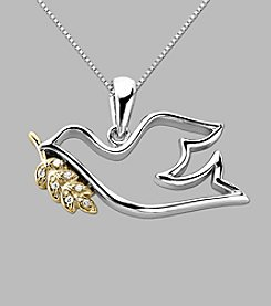 .02 ct. t.w. Dove Pendant In Sterling Silver and 14K Gold