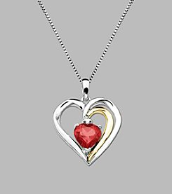 Created Ruby Heart Pendant in Sterling Silver and 14K Gold