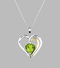 Peridot Heart Pendant in Sterling Silver and 14K Gold