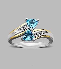 Blue Topaz Ring in Sterling Silver and 14K Gold