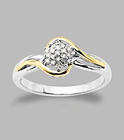 .09 ct. t.w. Diamond Ring in Sterling Silver and 14K Gold