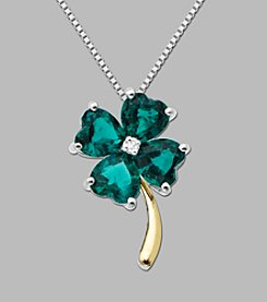 Created Emerald Clover Pendant in Sterling Silver and 14K Gold