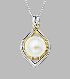 Fresh Water Pearl Pendant in Sterling Silver and 14K Gold