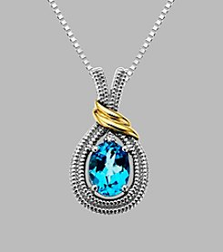 Blue Topaz Pendant in Sterling Silver and 14K Gold