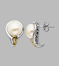 Fresh Water Pearl Earrings in Sterling Silver and 14K Gold