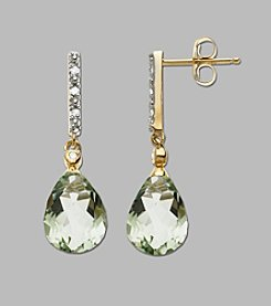 Green Amethyst Earrings in 10K Yellow Gold