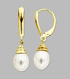 Fresh Water Pearl Drop Earrings in 10K Yellow Gold