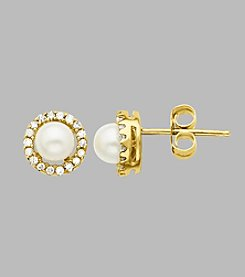 Fresh Water Pearl/Diamond Earrings in 10K Yellow Gold
