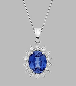 Created Sapphire Pendant in Sterling Silver
