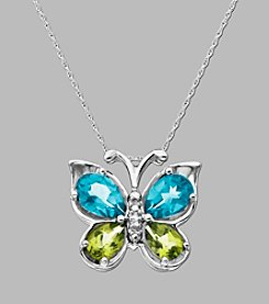 Blue Topaz and Peridot Butterfly Pendant in Sterling Silver