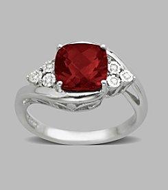 Garnet Ring in Sterling Silver