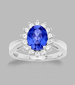 Created Sapphire Ring in Sterling Silver