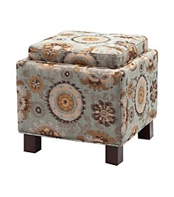 Madison Park® Liaison Blue Square Storage Ottoman with Pillows