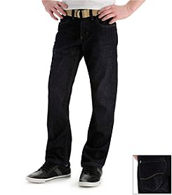 Lee® Boys' 8-20 3D Raw Dark Dark Slim Straight Belted Jeans