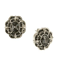 1928® Jewelry Black Diamond Button Earrings