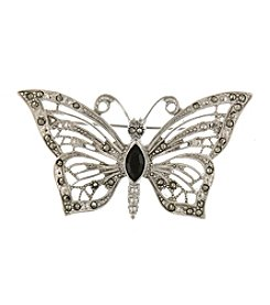 1928 Signature Jet and Marcasite Butterfly Pin