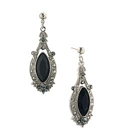 1928® Jewelry Jet and Marcasite Drop Earrings