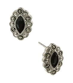1928® Jewelry Marcasite and Jet Navette Button Earrings