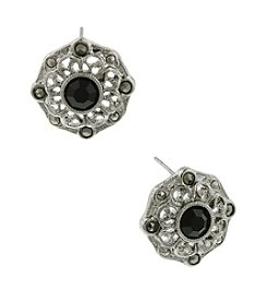 1928® Jewelry Jet and Marcasite Button Earrings