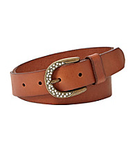 Fossil® Tan Rhinestone Buckle Belt