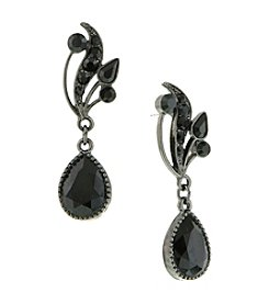 1928® Jewelry Jet Black with Swarovski Elements Vine Teardrop Earrings