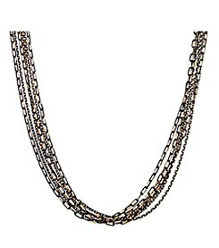 1928 Signature Jet Goldtone Stranded Mixed Chain Necklace