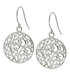 Sterling Silver Round with Swirl Dangle Earrings
