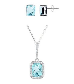 Designs by FMC Sterling Silver Plated Genuine Stone Blue Topaz Pendant and Earrings Boxed Set