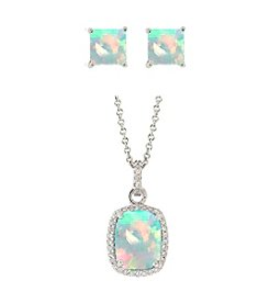Designs by FMC Sterling Silver Plated Lab Created Opal Pendant and Earrings Boxed Set